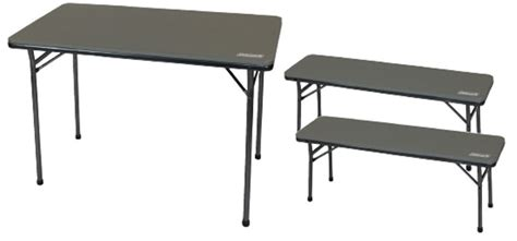 coleman cing table and benches coleman folding picnic table bench set
