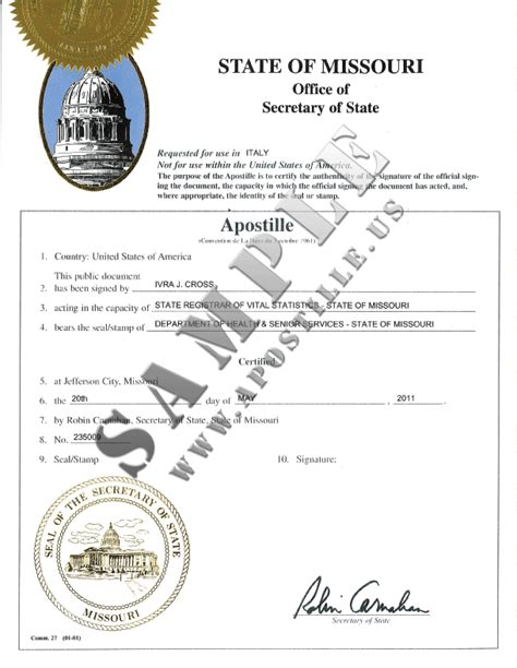 Criminal Record Certificate Personal Licence Authentications Of Documents State Missouri