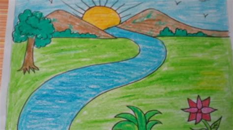 Drawing 7 Year by Landscape Drawing For 7 Years Children Drawing