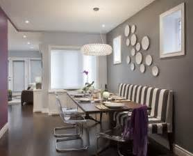 Grey gray purple dining room striped banquete bench clear chairs