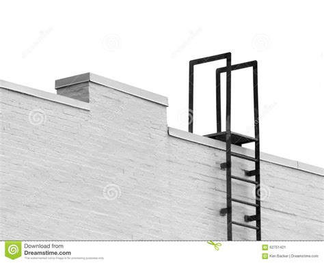 10 floor escape ladder top of a ladder to roof isolated stock image image