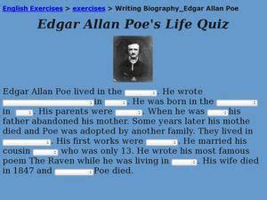 edgar allan poe biography quiz edgar allan poe biography lesson plans worksheets