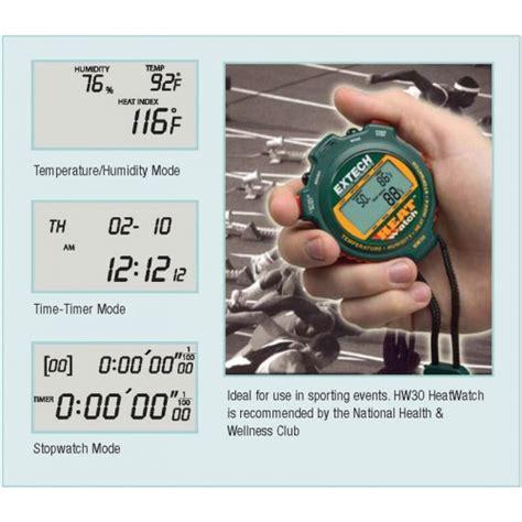 Extech Stopwatch Heat Index Hw30 extech hw30 stopwatch with heat index alarm heatwatch
