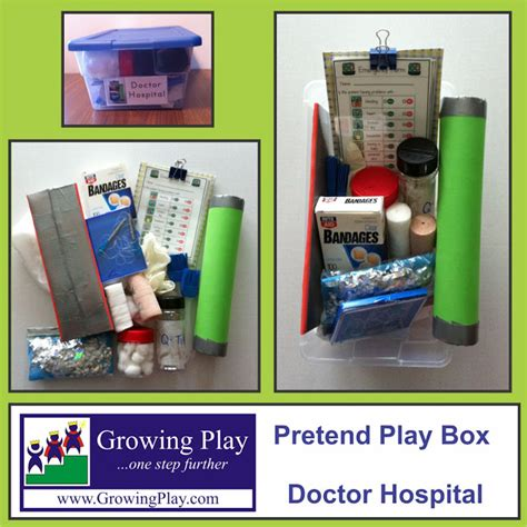 Cotton Box Half Binder growing play pretend play box doctor hospital