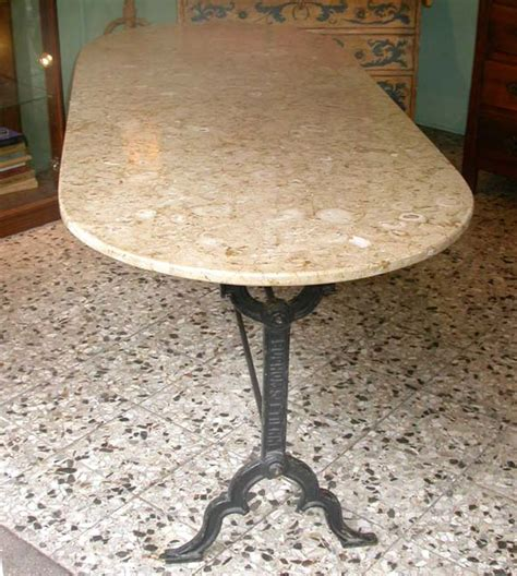 kitchen table marble top oval cast iron base marble top kitchen table at 1stdibs