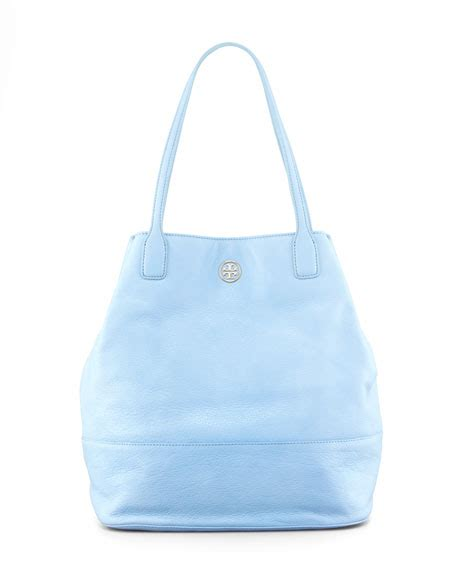 burch light blue bag burch pebbled leather tote bag light blue