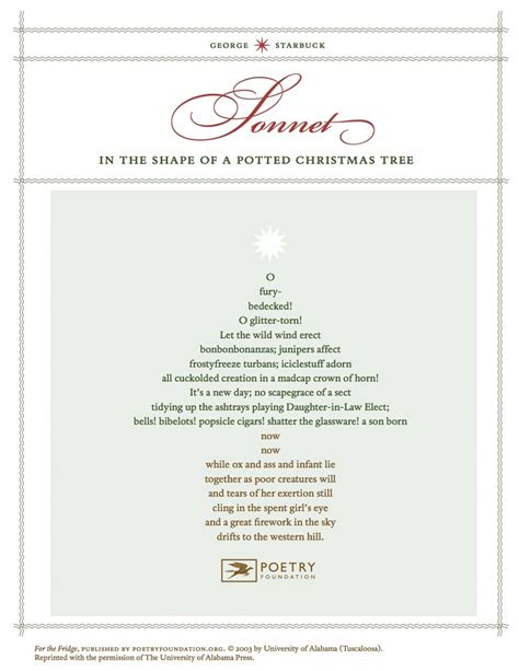 quot sonnet in the shape of a potted christmas tree quot by george