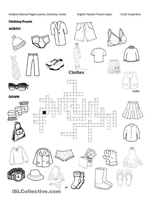 clothing puzzle clothing vocabularies