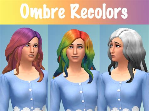sims 4 ombre hair eenhoorntje s curly ombre recolors