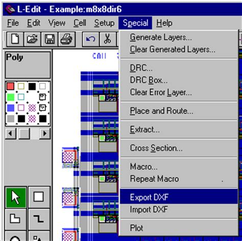 layout editor macro the export dxf macro