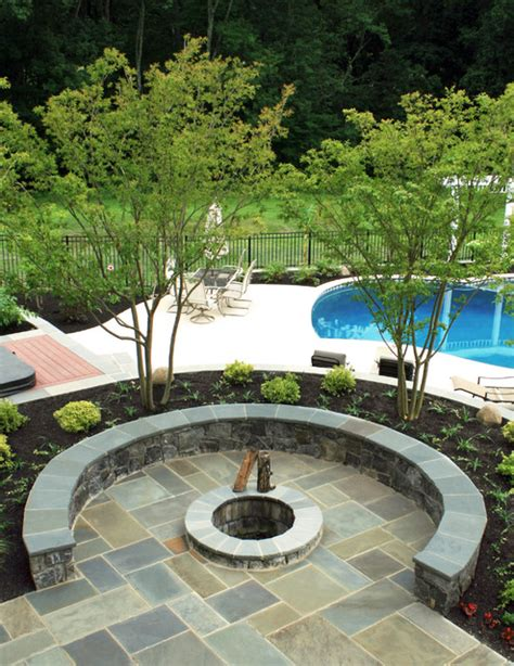 flagstone patio with firepit flagstone patio with firepit tropical patio dc metro