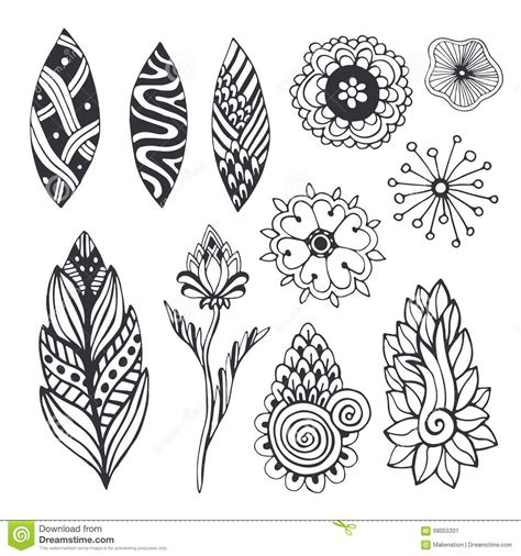 nature collection in zentangle style hand drawn vector