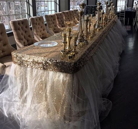 gold sequin and tulle table by a seat decor