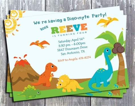 printable birthday cards dinosaur free personalized birthday invitation by edesigns studio