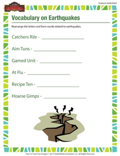 earthquake vocabulary earthquakes for kids worksheets lesupercoin printables