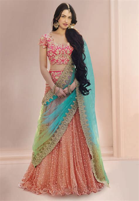 design your clothes online india embroidered net lehenga in peach lqm76