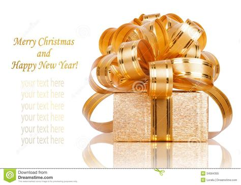 gift box wrapping beautiful gift box in gold wrapping paper stock image