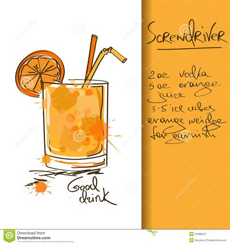 cocktail illustration illustration with screwdriver cocktail stock vector