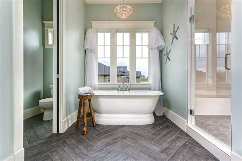 Wood like tiles transitional bathroom clark and co homes