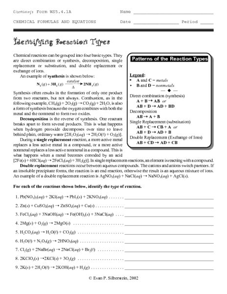 Reaction Types Worksheet Answer Key by Reaction Types Worksheet Free Worksheets Library