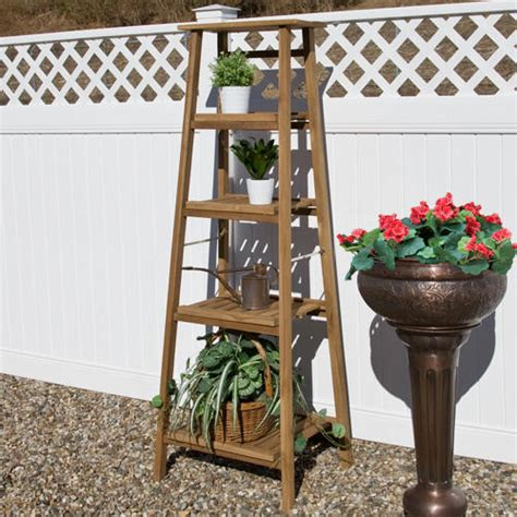 Outdoor Planter Stand by Four Tiered Ladder Style Teak Plant Stand Plant Stands