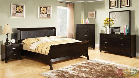 darien contemporary espresso sleigh bedroom set  leatherette headboard cm