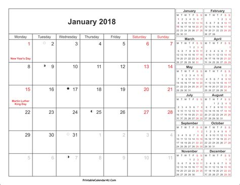 Calendar 2018 Excel India With Holidays January 2018 Calendar With Holidays 2018 Calendar Printable
