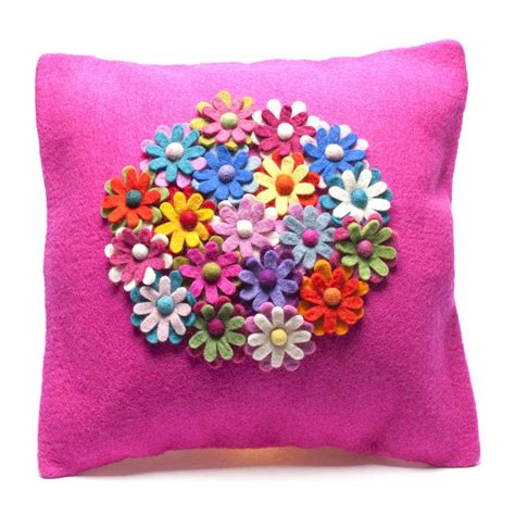 handmade felt pink flower cushion by felt so