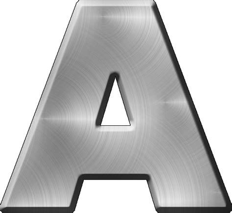 a picture presentation alphabets brushed metal letter a