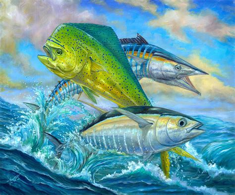 wahoo mahi mahi and tuna painting by terry fox