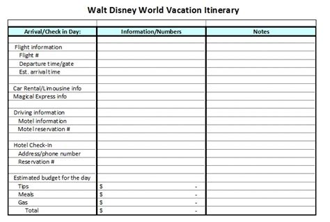 disney world itinerary template 7 best images of printable disney world itinerary walt