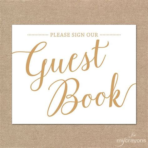 Please Sign Our Guestbook Sign Printable Guest Book Sign Instant Download Gold Wedding Sign Our Guest Book Template