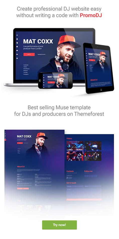 Promodj Dj Producer Musician Website Responsive Muse Template By Vinyljunkie Producer Website Template