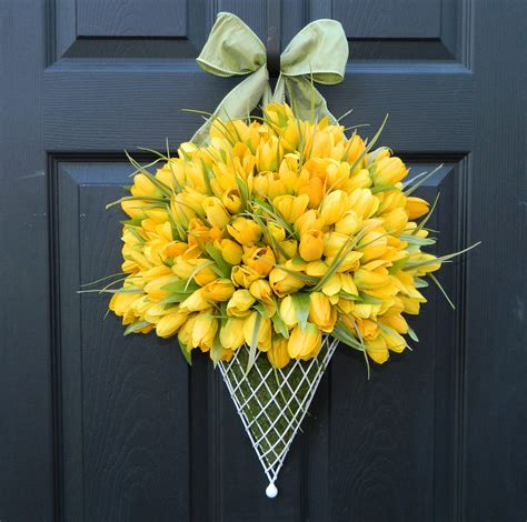 door wreaths for spring spring wreath tulip wreath spring door decor last one