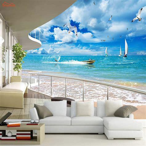3d wall murals 3d puzzle image aliexpress com buy large balcony sea sailing 3d city
