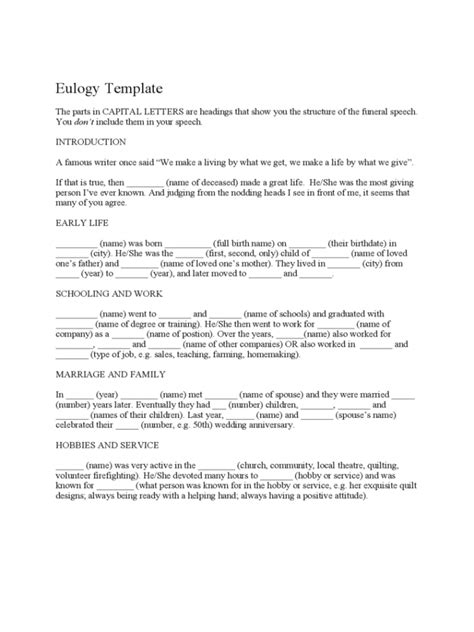 template eulogy template funeral eulogy template