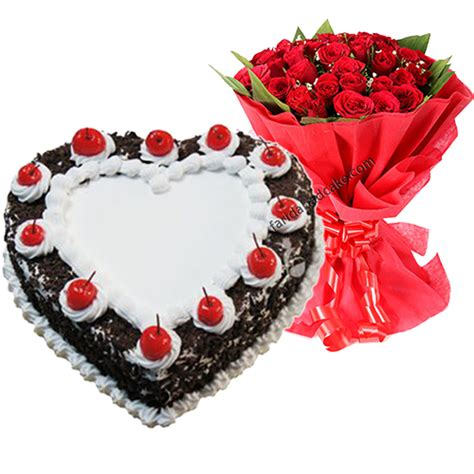 Black Forest Heart Shape Cake with Roses @ 1050, Free Shipping