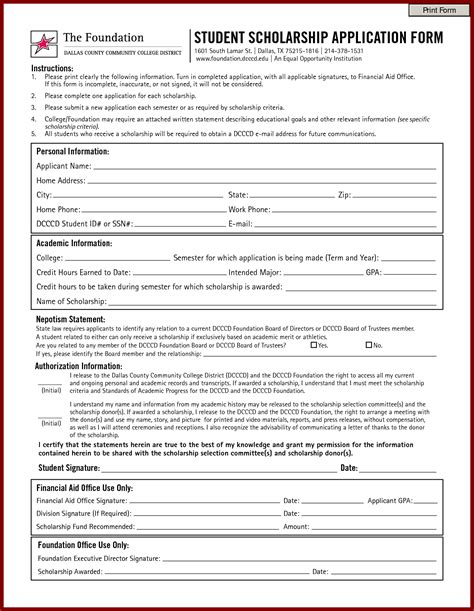 scholarship forms template scholarship application template bravebtr