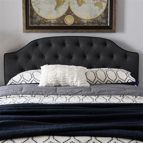 dark gray upholstered headboard baxton studio windsor dark gray fabric upholstered queen