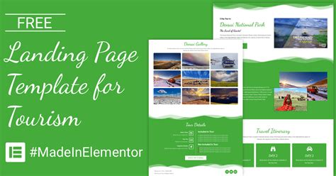Free Landing Page Elementor Template For Tourism Cakewp Elementor Landing Page Templates