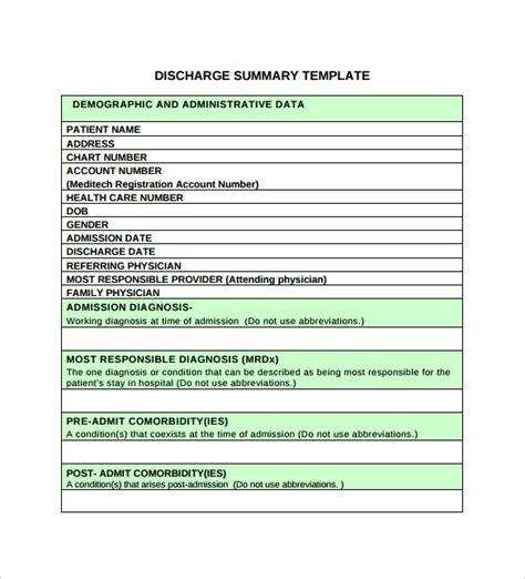 patient discharge summary template sle discharge summary 10 documents in pdf word