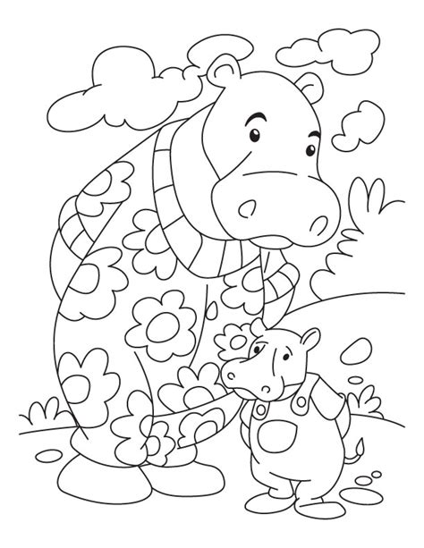 baby hippo coloring page hippo and baby hppo coloring page
