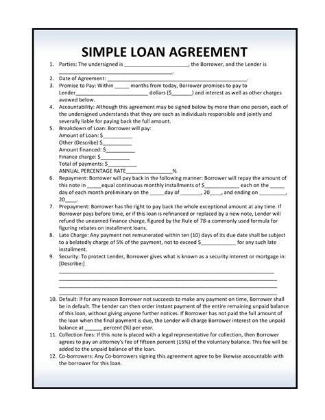free simple loan agreement template free loan agreement forms pdf template form