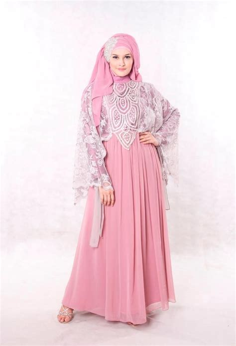 Baju Pesta Muslimah Eksklusif baju pesta muslimah modern dusty pink shoping pink simple and modern
