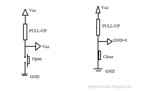 how does a pull up resistor work interfacing push button switch to arduino projectsdunia