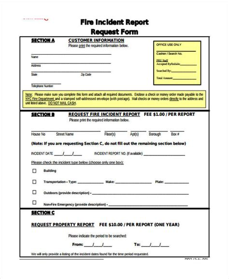 fire incident report template report template fire