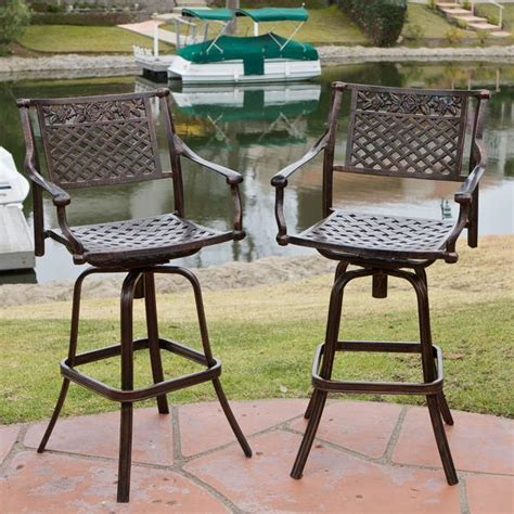 cast aluminum bar stools sierra outdoor cast aluminum swivel bar stools set of 2