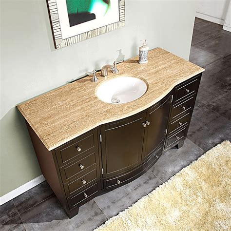 55 quot travertine top single white sink bathroom vanity