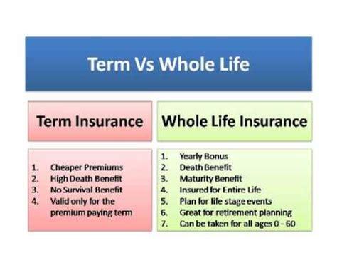 whole vs term insurance term insurance vs whole insurance