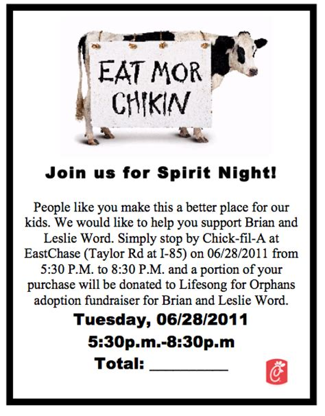 Waiting On A Word What Do Chicken And Sweet Tea Have To Do With Our Adoption Fil A Flyer Template